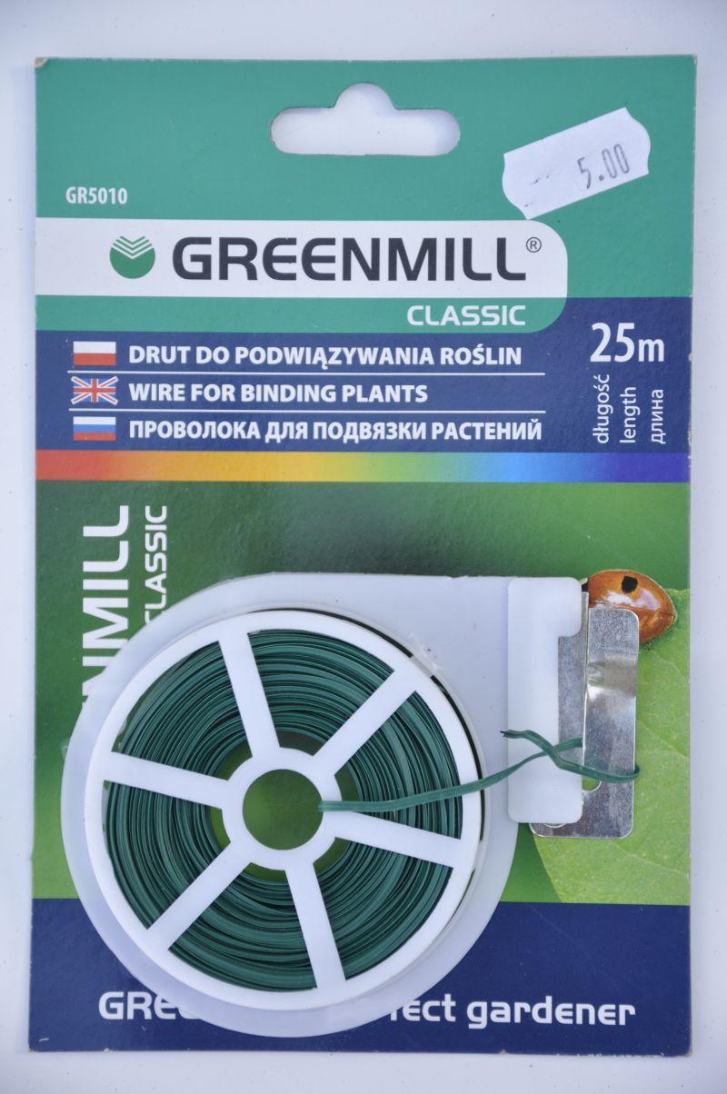 Drut ogrodniczy płaski 25m z obcinaczem Greenmill