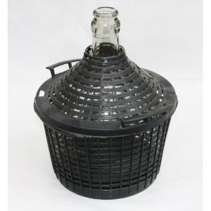 Balon na wino w koszu plastikowym WĄSKI wlew 34L