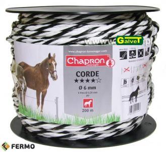 Lina do pastuchów elektrycznych CORDE 200m fi6mm white/black