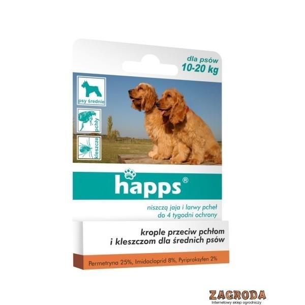 Krople spot-on przeciw pchłom i kleszczom dla średnich psów HAPPS