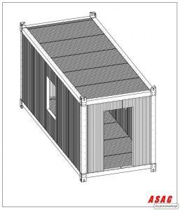 Rama kontenerowa samonośna 2,5x6,0x2,7 ocynk, kontener biuro pawilon